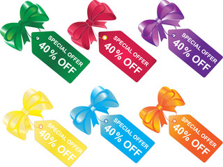 Special offer 40% off, price tags, labels