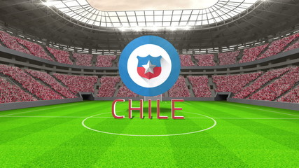 Chile world cup message with badge and text