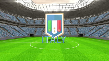 Italy world cup message with badge and text