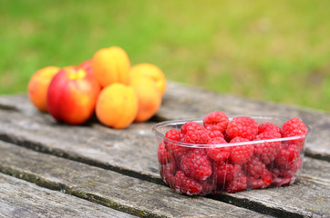 Fresh fruits on a wooden board