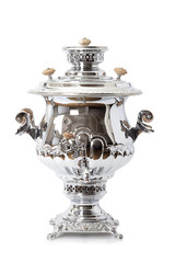 Russian tea samovar over white