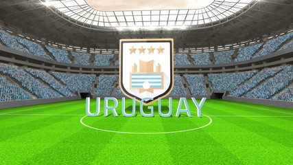 Uruguay world cup message with badge and text