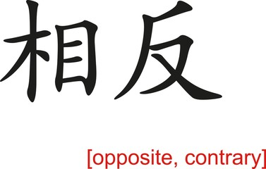 Chinese Sign for opposite, contrary