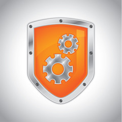 Security shield with tool settings icon