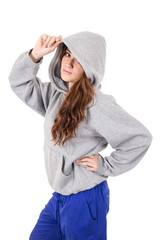 attractive young red haired girl wearing grey hoodie