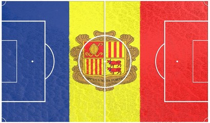 football field textured by andorra national flag