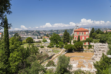 Nice, France. Roman ruins and the Matisse Museum at Cimiez hill
