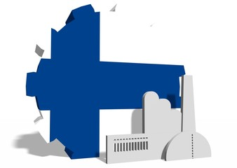 national flag of the finland on gear and factory icon