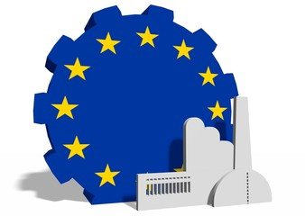 national flag of the europe union on gear and factory icon