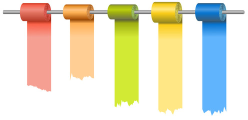 Vector version of rolls of colored papers at metal rod