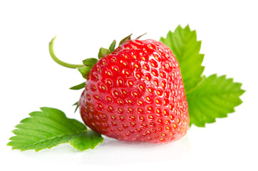 Red sweet strawberry isolated on white background