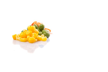 A group of baked beans, green peas and sweet corn over white