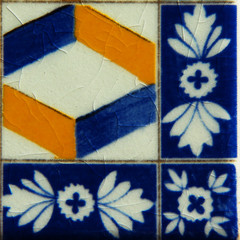 Portuguese Ceramic Tiles Blue and Yellow