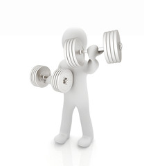 3d mans with metall dumbbells