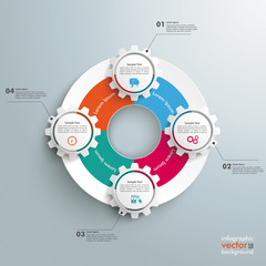 Big Circle Colored Infographic 4 Gears
