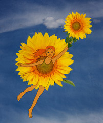 girl in a dress of sunflower