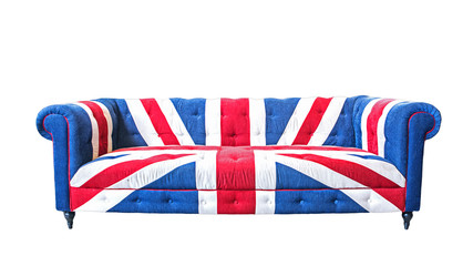 Union jack sofa isolate on white background with clipping path
