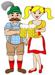 bayerisches Paar auf dem Oktoberfest mit Maßkrug