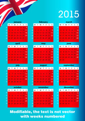 English calendar 2015 Modifiable with weeks numbered
