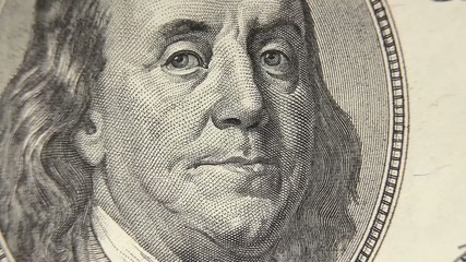 Portrait of Benjamin Franklin macro from one hundred dollars