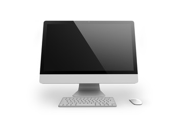 Desktop computer on white background