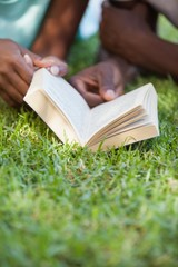 Young couple reading book on the grass