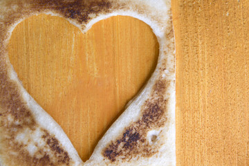 Toast in the shape of heart