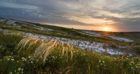 Sunrise in steppe