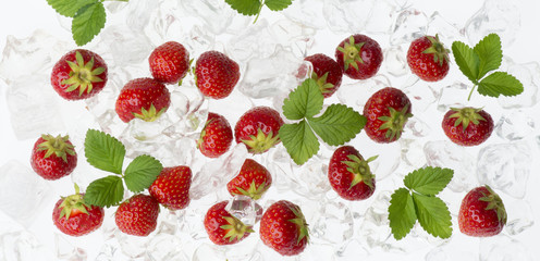 strawberries in the ice