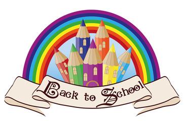 Back to School. Magic rainbow school castle