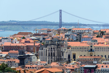 Carmo Convent and bridge in background, Lisbon (Portugal)