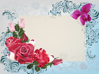 pink rose flowers on blue decorated background