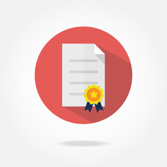 Flat certificate icon.
