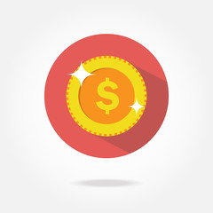 Flat coin icon.