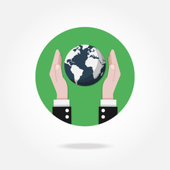 Vector earth icon. Ecology, world, business concept.
