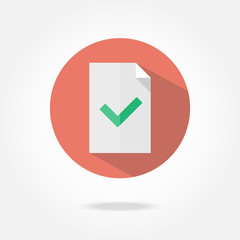 Flat document check icon.