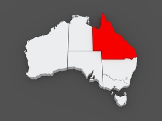 Map of Queensland. Australia.
