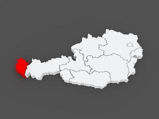 Map of Vorarlberg. Austria.