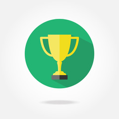 Flat win cup icon.