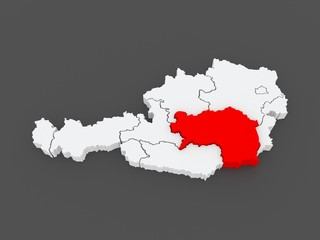 Map of Styria. Austria.