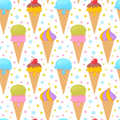 Colorful melting ice-cream seamless pattern