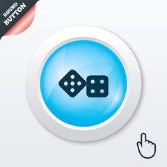 Dices sign icon. Casino game symbol.