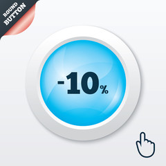 10 percent discount sign icon. Sale symbol.