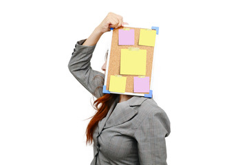 Stress business woman with message note