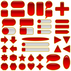 Red glass buttons set, isolated