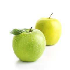 Green and Yellow Apple Isolated