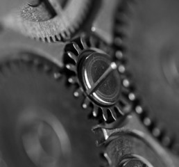 Metal gear wheel,black-and-white. Macro . Extreme closeup