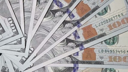 One hundred dollars banknotes macro.