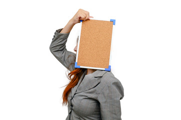 Stress woman with cockboard isolated on white.