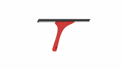 Squeegee with red handle spin on white background